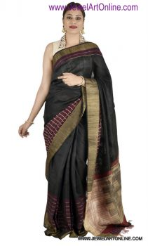 Black Handloom Tussar Dupion Silk Saree With Blouse