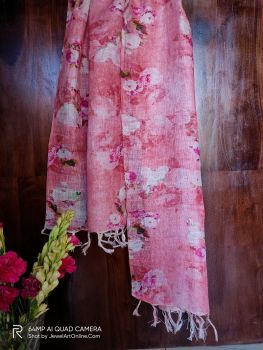 Pink Pure Linen Handwoven Stole