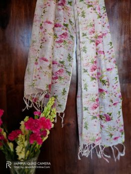 Light Pink Printed Pure Linen Handwoven Stole