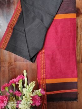 Black and Red Maheshwari Handloom Silk Cotton Saree
