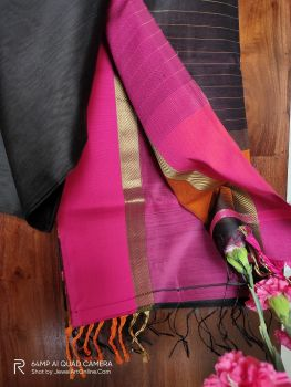 Black and Magenta Maheshwari Handloom Silk Cotton Saree