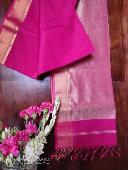 Magenta Maheshwari Handloom Silk Cotton Saree