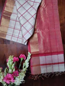 White and Red Maheshwari Handloom Silk Cotton Saree