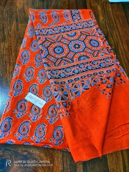 Orange & Blue Handblock Print Ajrakh Barmer Cotton Mull Dupatta