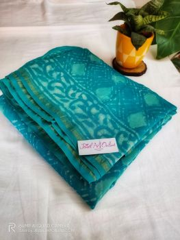 Turquoise Blue Chanderi Silk Saree With Blouse