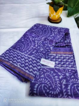 Purple Chanderi Silk Saree With Blouse