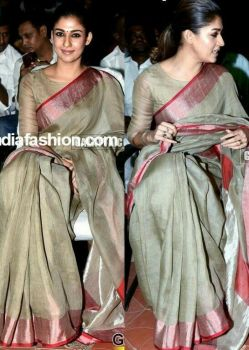 Nayantara Pure Linen Saree With Blouse