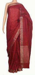Red Colour Handwoven  Pure Linen Saree With Blouse