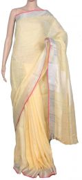 Yellow & Pink Pure Linen Saree with blouse