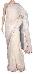 White & Pink Pure Linen Saree with blouse