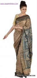 Brown & Blue Handloom Tussar Silk Saree With Blouse