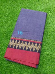 Blue and Pink Pure Handloom Narayanpet Cotton Saree with Tassels