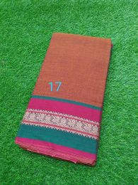 Rust Color Pure Handloom Narayanpet Cotton Saree with Tassels