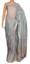 Grey Pure Linen Saree with blouse