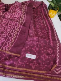 Onion Pink Chanderi Silk Saree With Blouse