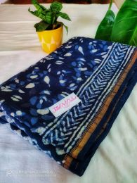 Indigo Handloom Chanderi Silk Saree With Blouse