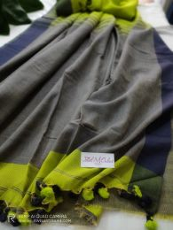 Green & Navy Blue Handloom Cotton Saree With  Blouse