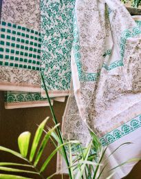 Green and Off White Chanderi Suit Dupatta Set