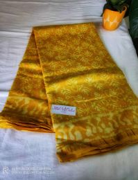 Yellow Handblock Chanderi Silk Saree With Blouse