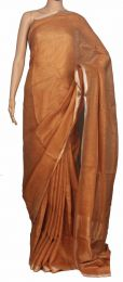 Brown Pure Linen Saree with blouse