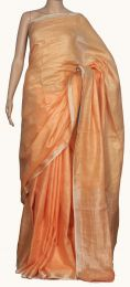Peach Pure Linen Saree with blouse