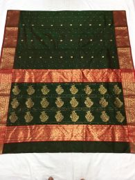 Dark Green Handloom Chanderi Silk Saree With Blouse